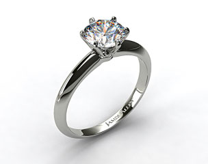 18k White Gold Six Prong Knife Edged Solitaire Engagement Ring (Handmade)